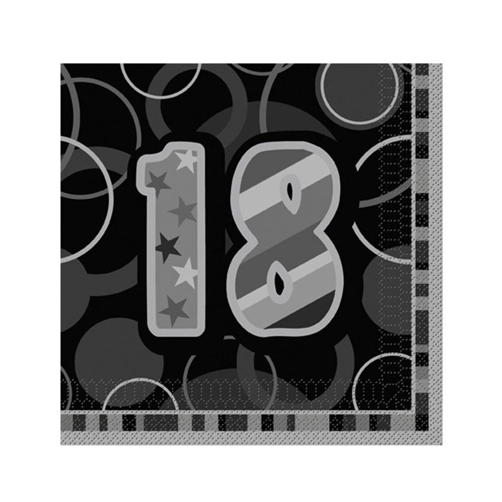 16 serviettes en papier age 18 ans grises 33 x 33 cm. Black Bedroom Furniture Sets. Home Design Ideas