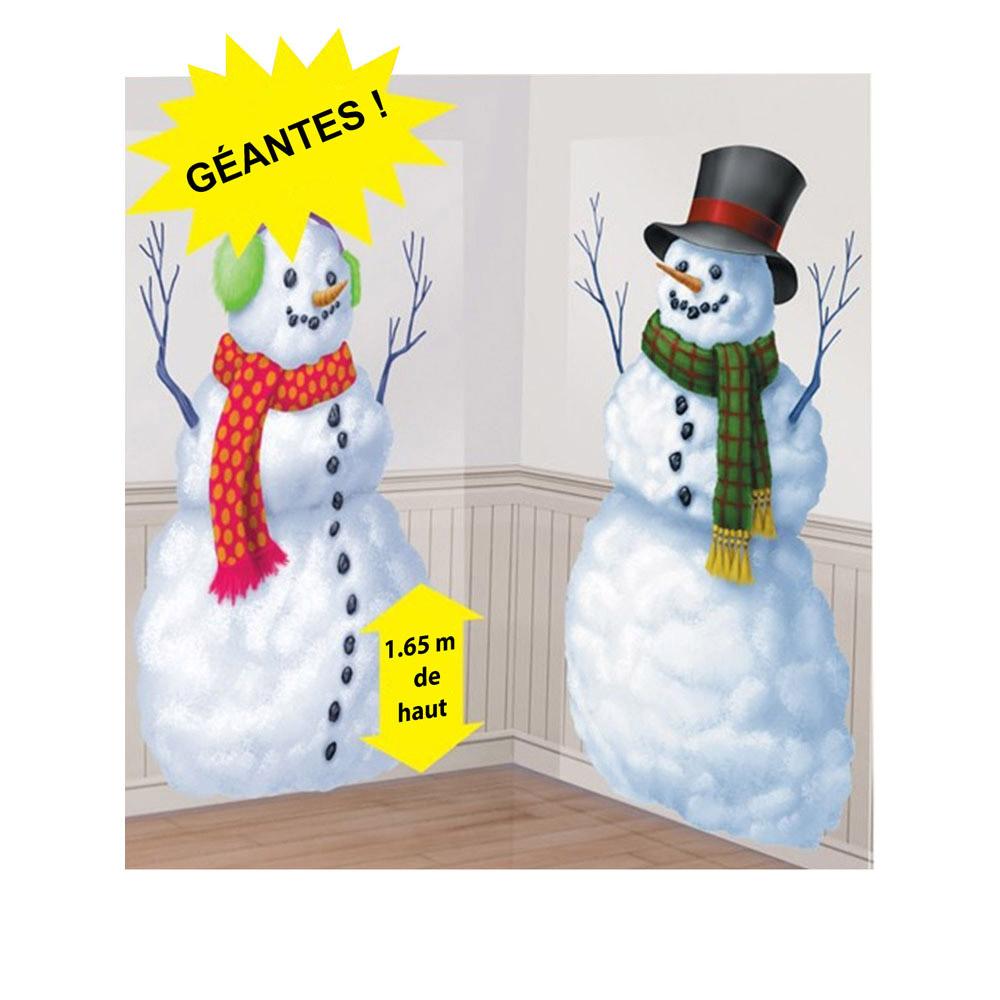 2 d coration murales en carton bonhommes de neige - Bonhomme de neige decoration exterieure ...