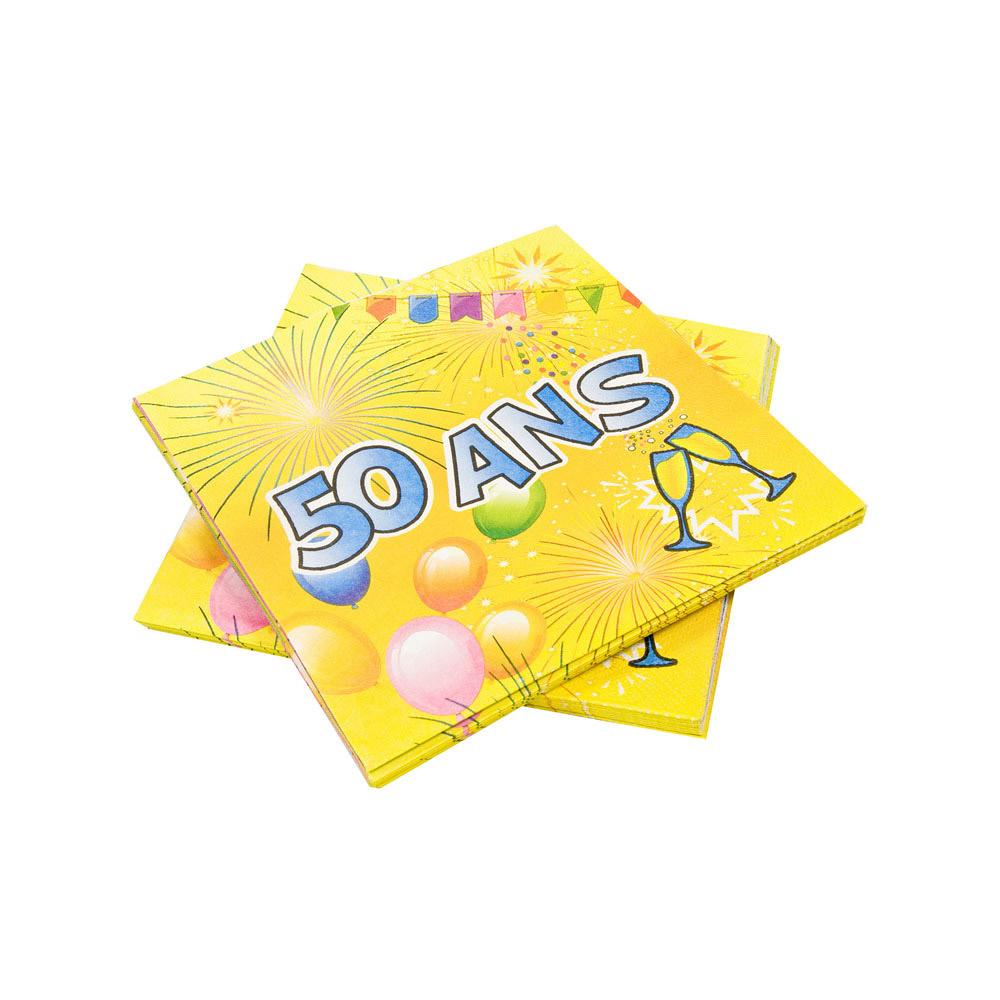 20 serviettes en papier anniversaire fiesta 50 ans 33 cm. Black Bedroom Furniture Sets. Home Design Ideas