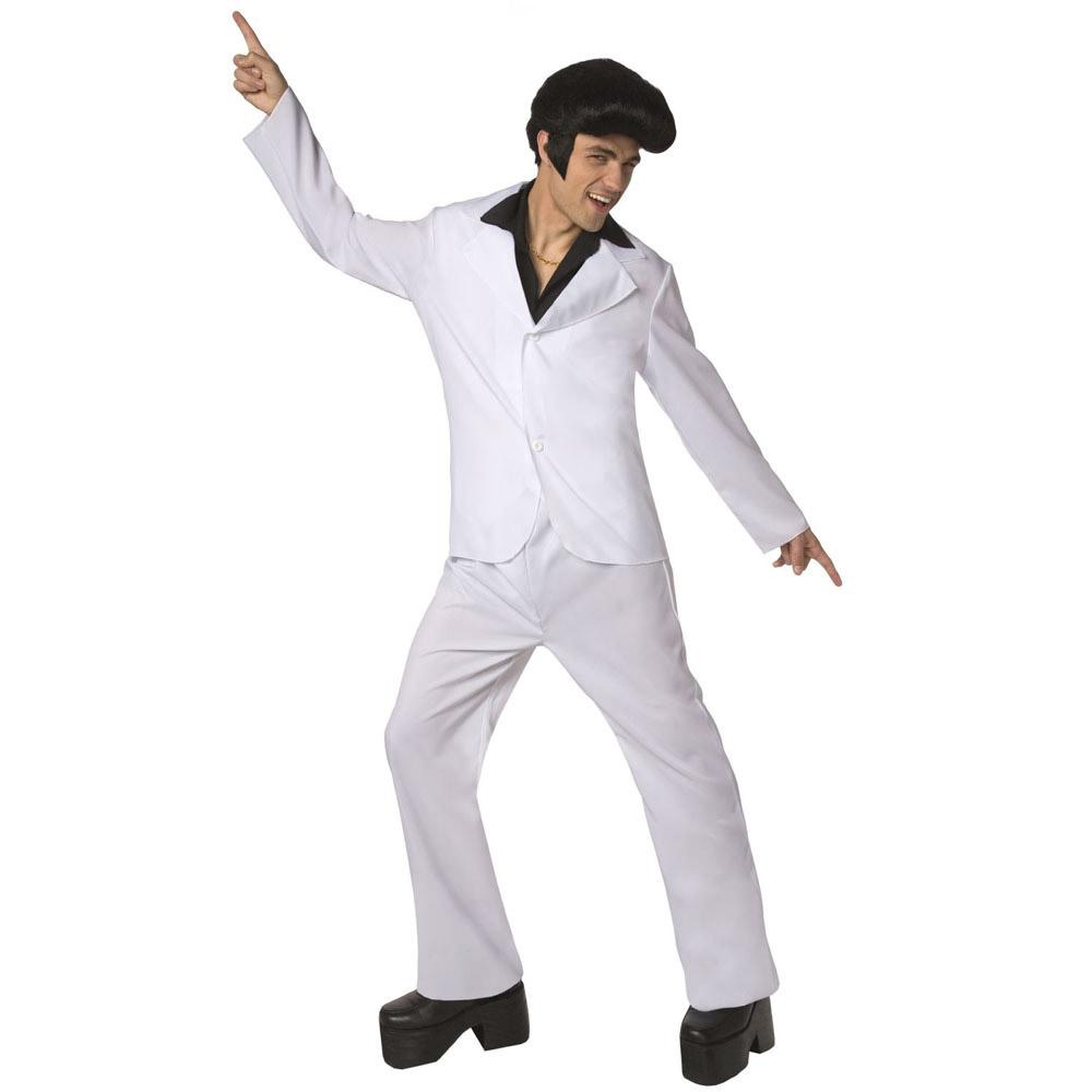 d guisement disco homme costume blanc chemise noire. Black Bedroom Furniture Sets. Home Design Ideas