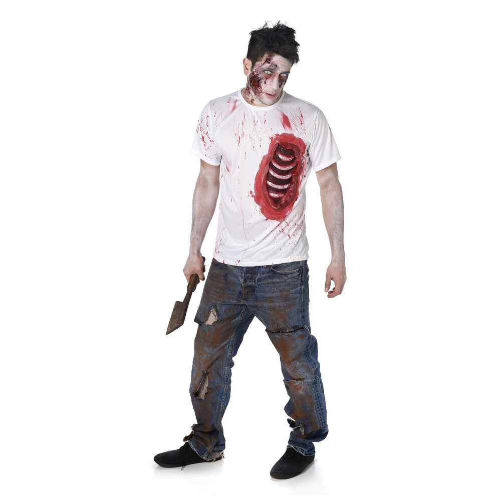 d guisement zombie avec c tes en latex homme halloween. Black Bedroom Furniture Sets. Home Design Ideas